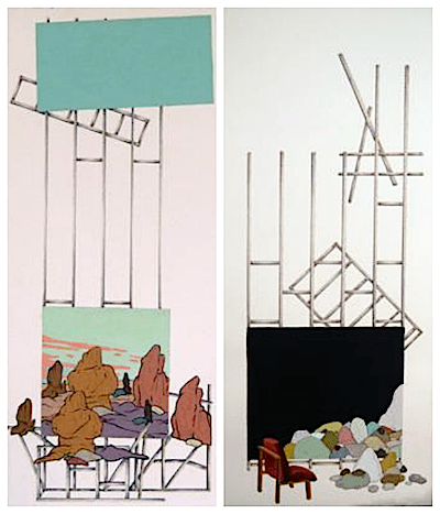 Ryan Syrell's two works on paper also top my list on pieces I would like to take home with me. Strata I: Rocks with Chair, 2013 and Strata II: Arches Formations with Cutouts, 2013 are both made of oil and vinyl paint with colored pencil on paper. They work well separately or together.