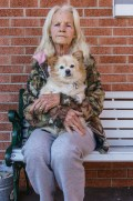 Sue and Sunshine at the Travelers Inn Motel, Olney, Illinois, 2016