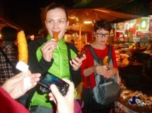Night market in Xian with tour leader.