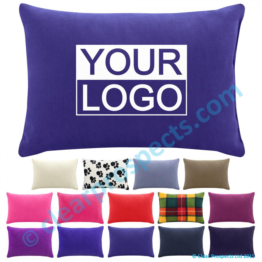 promotional travel pillow 30cm x 20cm with optional logo print