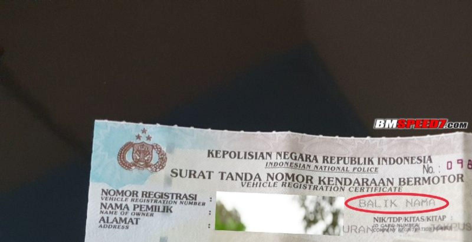 Biaya balik nama motor di Jakarta