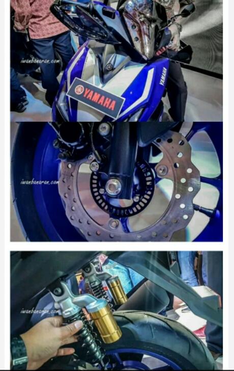 Headlamp, Disc Brake, Sok tabung Yamaha Aerox 155 race blue tipe sport