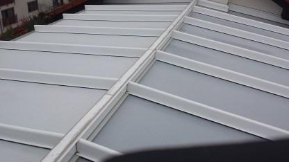 großflächiges Terrassendach mit Stegplatteneindeckung