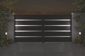 Pulverbeschichtetes Aluminiumtor der Home Serie mit offener Panel und LED Beleuchtung, Motiv 21