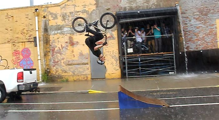 Jason Phelan Backflip In the Pouring Rain and Traffic