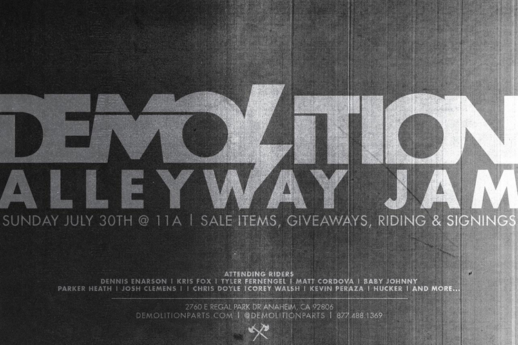 Demolition Parts Alleyway Jam Flyer BMX