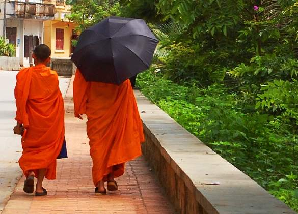 Monks walking - Luang Prabang - Laos Tours