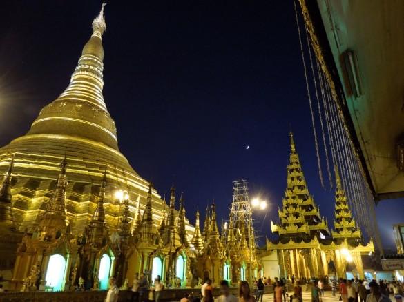 Schwedagon Pagoda glows in the floodlights - Myanmar Tours - Huong Viet Travel