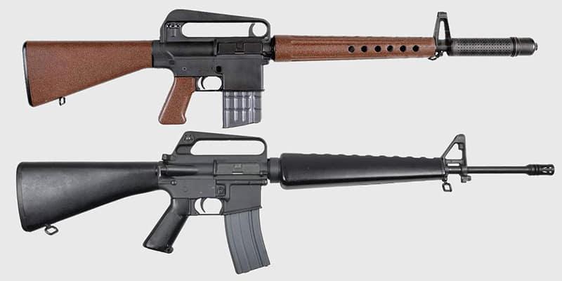 Разработанная Стоунером «АрмаЛайт» AR-10 под патрон 7,62×51 мм и созданная на её основе классическая M16A1.