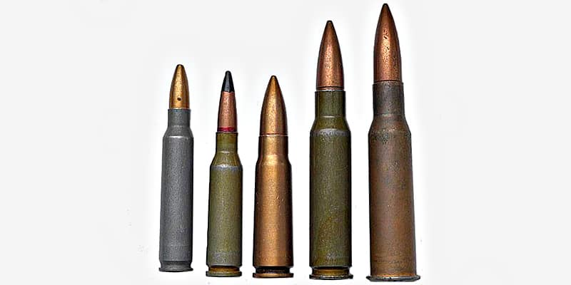 Самые распространённые российские «нарезные» боеприпасы: .223 Rem, 5,45×39 мм, 7,62×39 мм, .308 Win и 7,62×54R