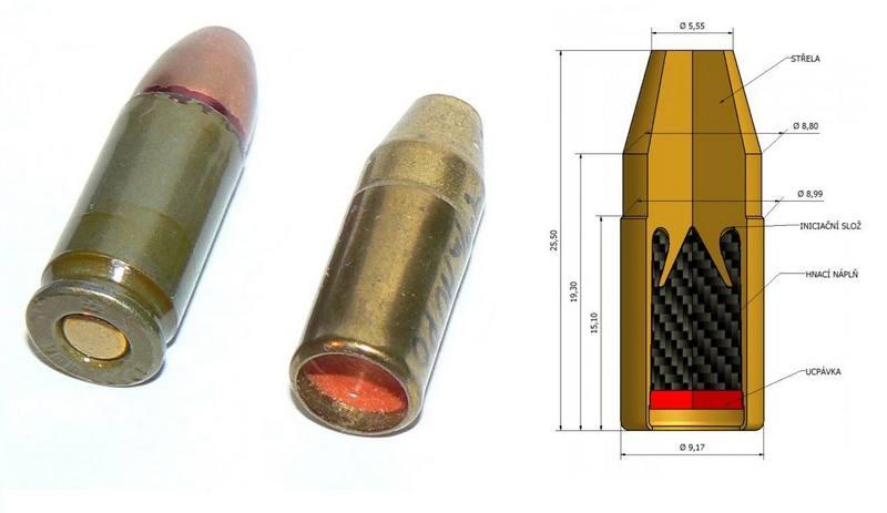 Обычный 9 мм патрон в сравнении с 9mm AUPO