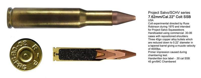 Проект SALVO. Патроны SSB —Salvo Squeeze Bore для пулемета М2, винтовки М14 и пистолета SSP Colt.