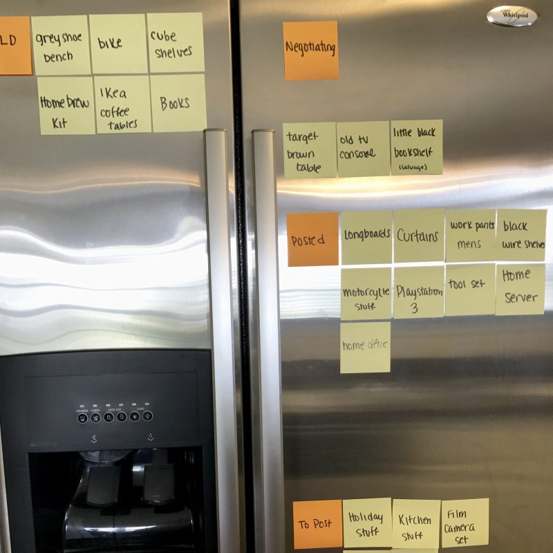 Sticky notes decorate a fridge as we keep track of all the items being sold on Craigslist