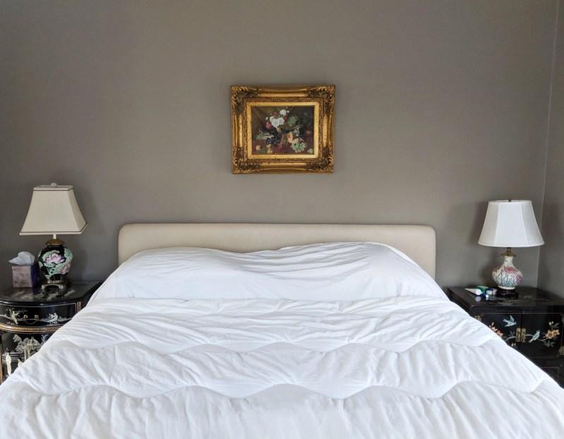 victorian bedroom with ornate nightstands