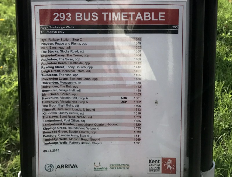 bus timetable in Kent county