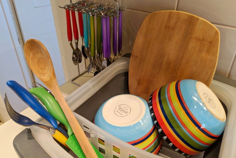dishes in drying rack
