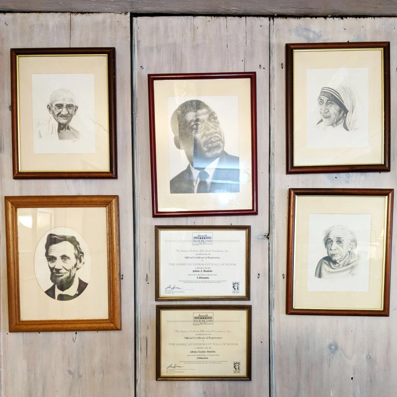 framed sketches of famous civil rights activists at Two Wrasslin' Cats