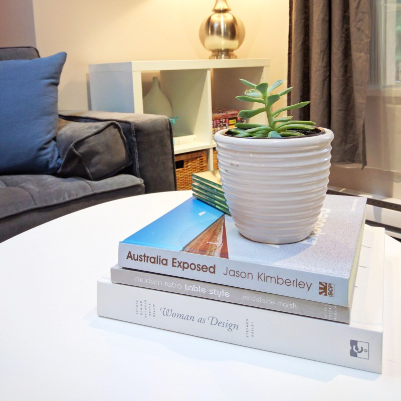 coffee table with books and a plant