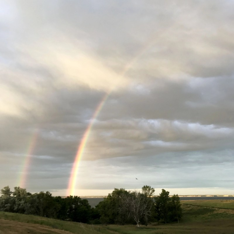 double rainbow at fort stevensons state park in North Dakota