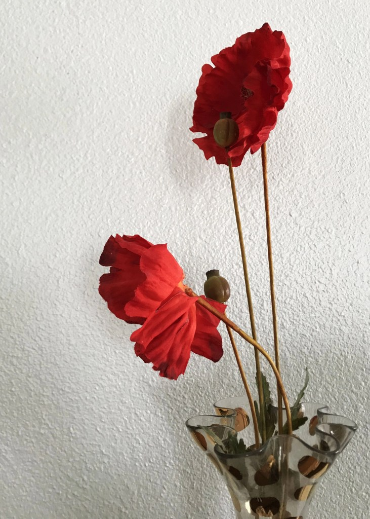 two red flowers in vase