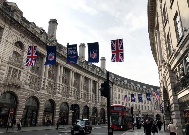 nfl flags on regents street in london
