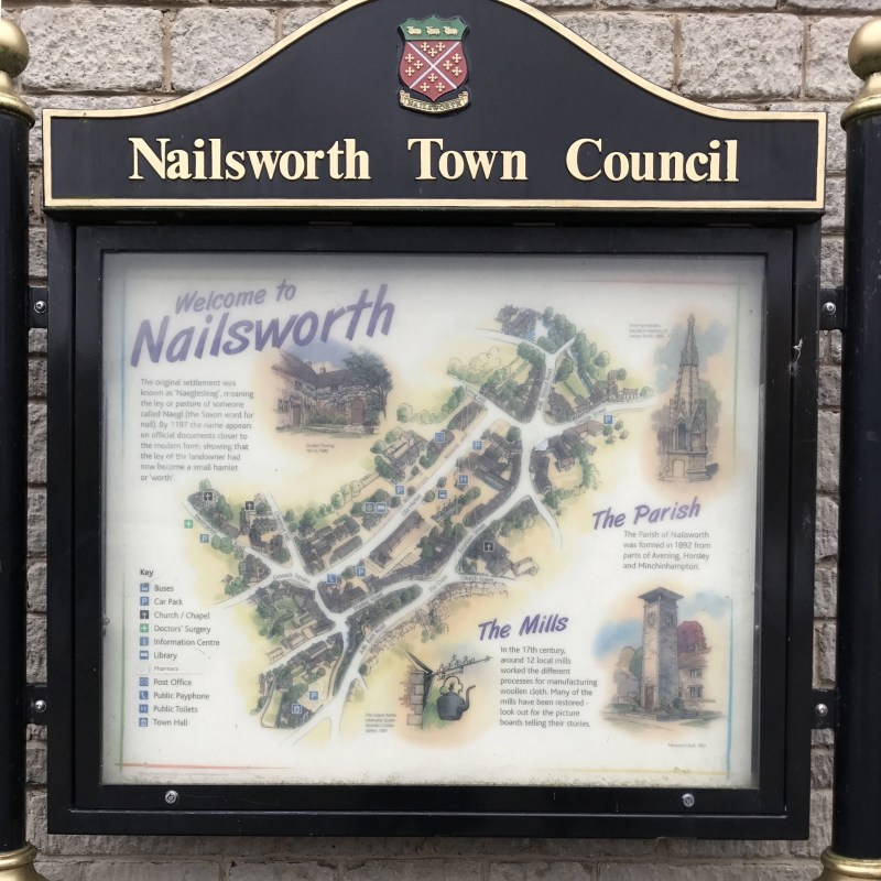 town sign in Nailsworth, England