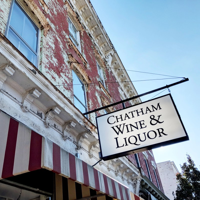 wine and liquor sign in Chatham, New York