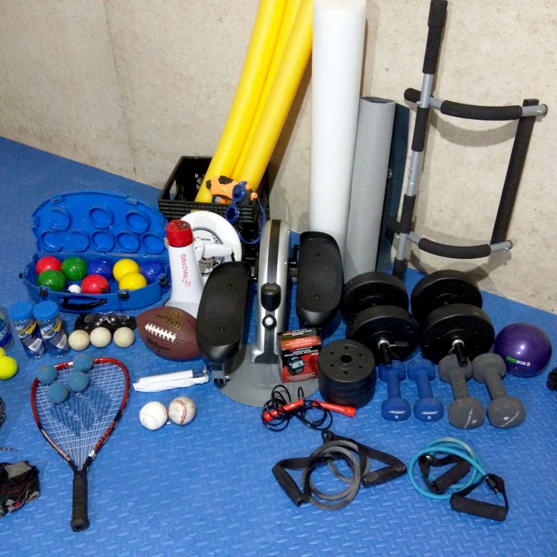 collection of sports equiptment