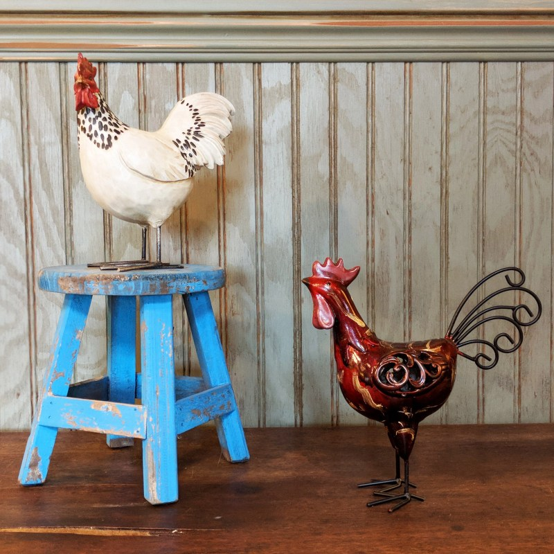 chicken figurines in an Airbnb in Tijeras, New Mexico