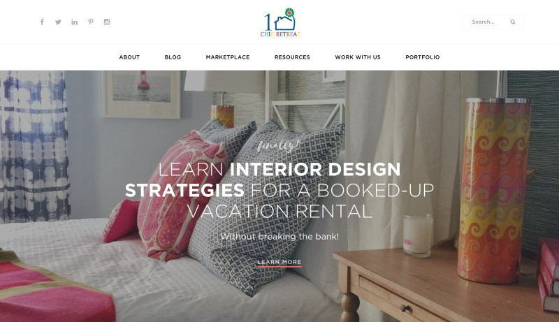 home page of 1 Chic Retreat