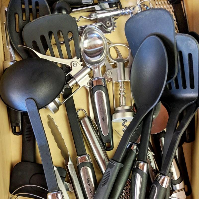 kitchen utensils in a drawer