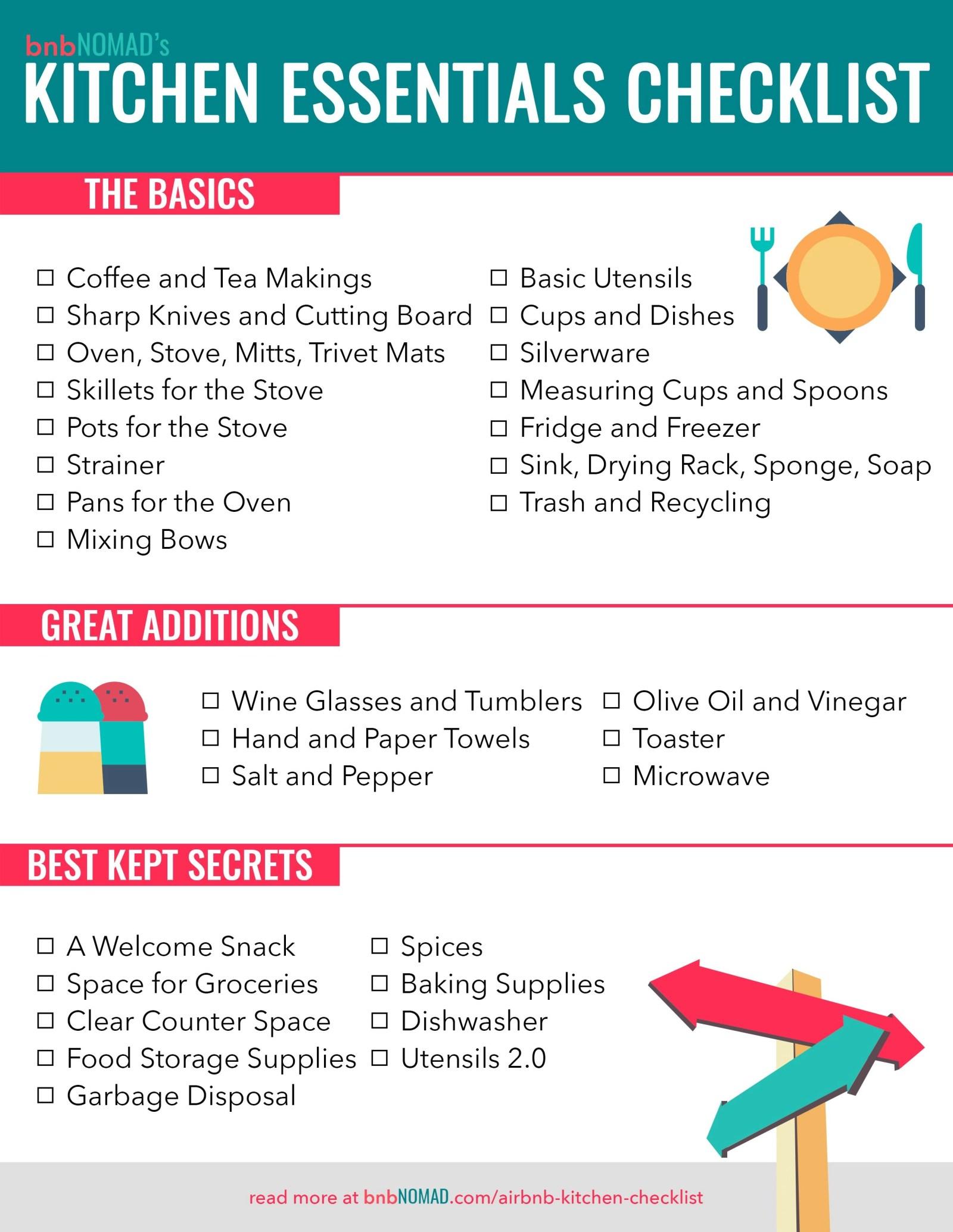 the airbnb host s kitchen essentials checklist bnbnomad