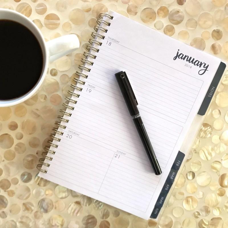 coffee and calendar on table