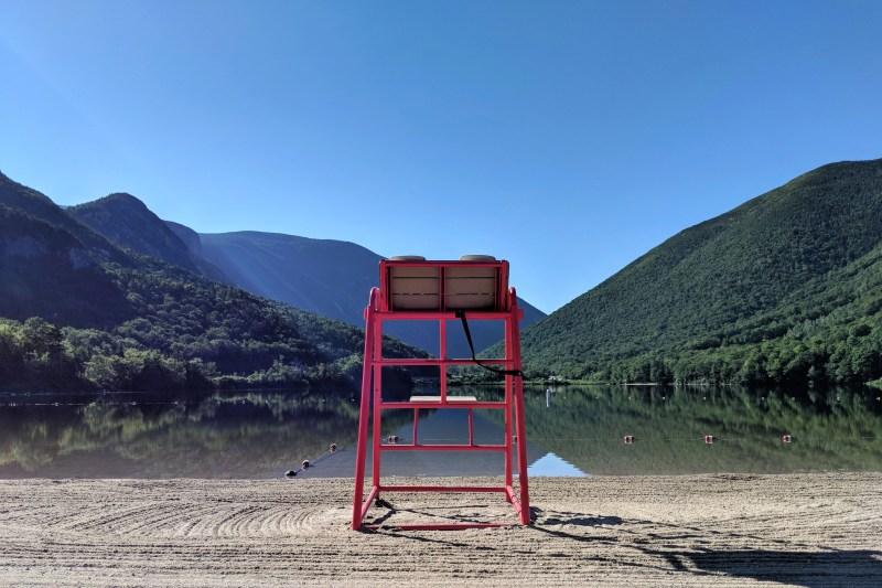 Echo Lake New Hampshire life guard stand