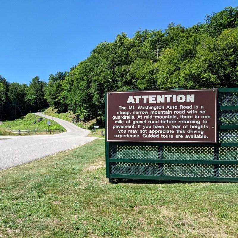 Mount Washington Auto Road Sign