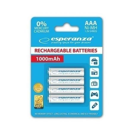 0087494 punjive baterije esperanza rechargeable ni mh aaa 1000mah 4kom white eza102w