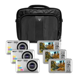 "HamiltonBuhl Camera Explorer Kit, Six 12MP Digital Cameras with Flash and 2.7"" LCDs, Nylon Carry Case"