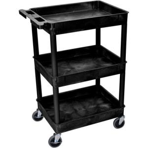 "Luxor 24 x 18"" Three-Shelf Utility Cart (Black)"