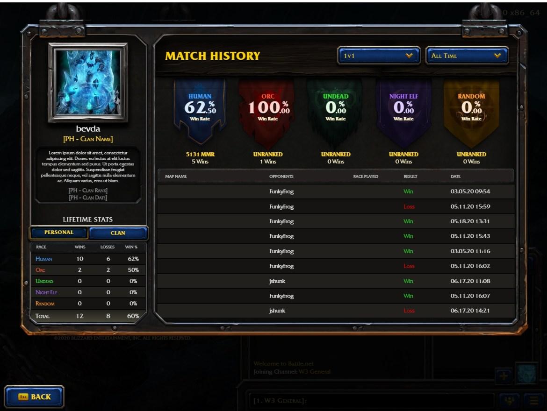 Storico partite di Warcraft III Reforged