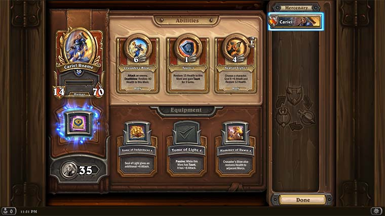 You can upgrade your Mercs in the Tavern, shown here. It closely resembles the Hearthstone Collection Manager for constructed.