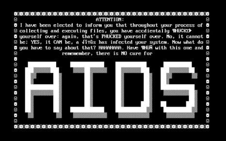 Aspecto de la pantalla original de aviso del troyano AIDS