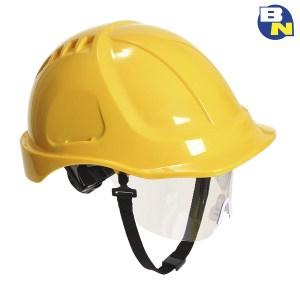 Protezione-DPI-elmetti-con-visiera-integrata-gialla