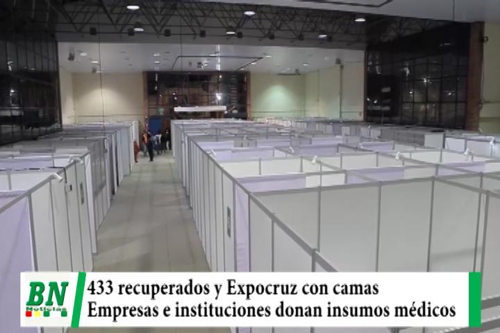 Alerta coronavirus, 433 recuperados y Expocruz lista con ambientes, empresas e instituciones donan insumos