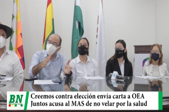 Elección 2020, Creemos envía carta a la OEA y Juntos acusa al MAS y Mesa de no velar por la salud