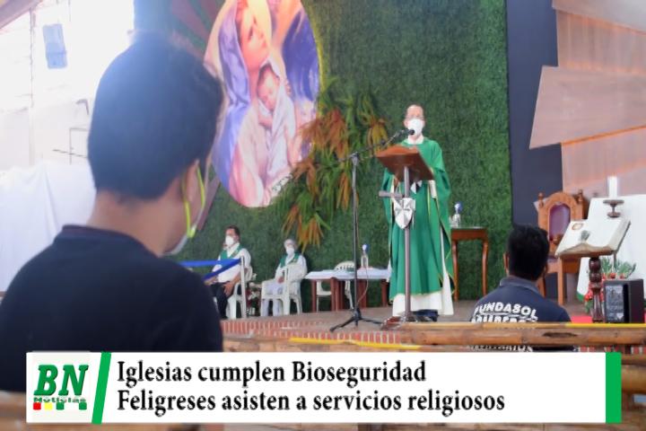 Iglesias Católica y Evangélica cumplen con medidas de Bioseguridad en sus servicios religiosos
