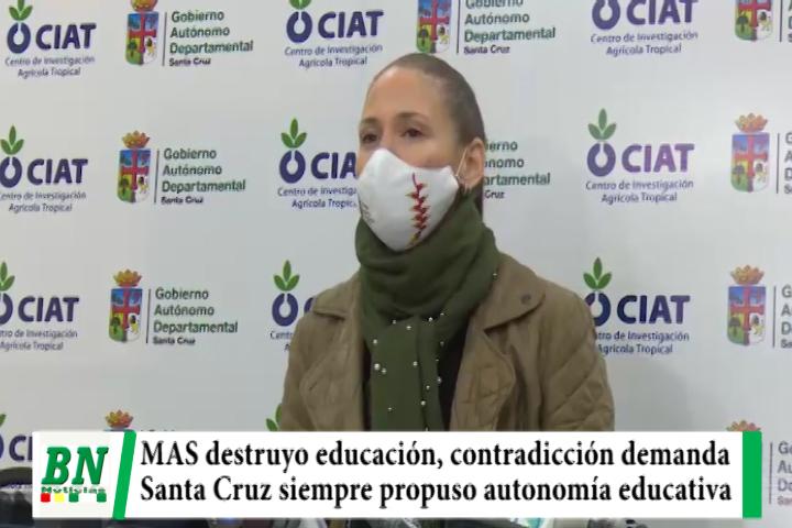 Contradictorio el MAS demanda reinicio de clases cuando la destruyó en 14 años, Santa Cruz pide autonomía educativa