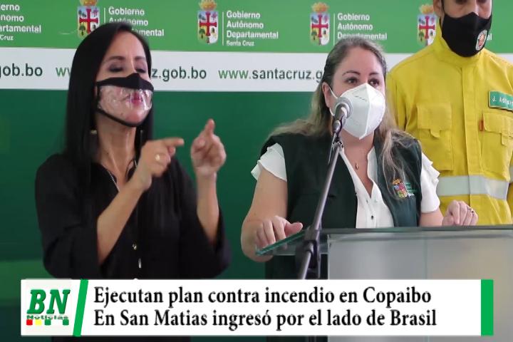 Ejecutan plan contra incendio en Copaibo por dos frentes mientras en San Matias fuego de Brasil