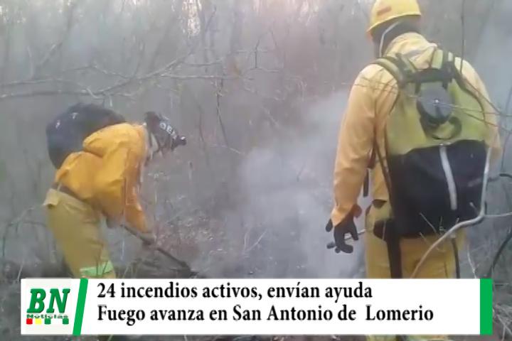 Registran 24 incendios y envían ayuda mientras San Antonio de Lomerio trabaja para controlar el fuego