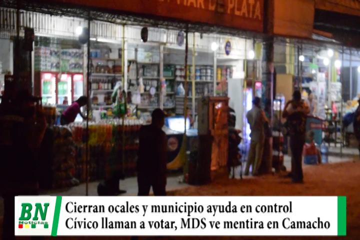 Cierran locales y municipio ayuda en control de elección, Cívico llama a votar y MDS ve que Camacho mintió sobre asesor