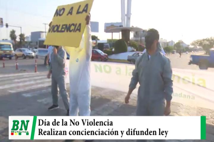 En el Día de la No Violencia realizan concienciación en las calles y hacen conocer que hay una ley Departamental